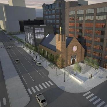 A rendering of the new Our Lady of Good Voyage, to be constructed at 51 Seaport Boulevard, near Fort Point Channel.